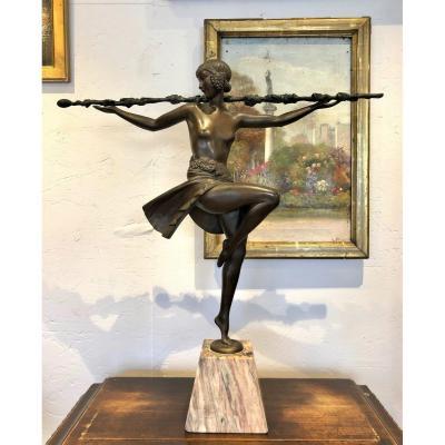 Danseuse Au Thyrse, Bronze d'époque Art Déco