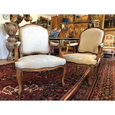 Large Pair Of Armchairs With Flat Backs