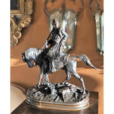 African Hunter On Horseback, Bronze P.j Mène And Barbedienne