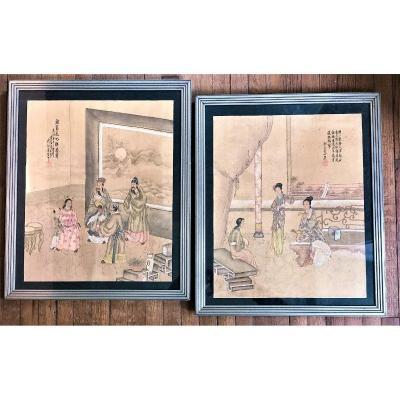 Paire De Peintures Sur Soie Chine 19eme