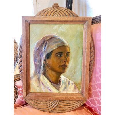 Portrait De Femme Orientaliste Signé