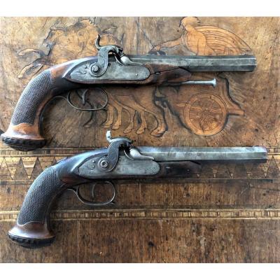 Paire De Pistolets d'Officiers Liège 19eme