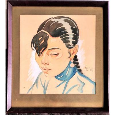 Portrait d'Une Chanteuse Saigonnaise Signé Daté 1929