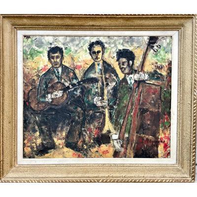 Les Jazzmen, Huile Sur Toile Signée Et Datée 66