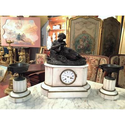Garniture Cheminée Bronze Et Marbre XIXe