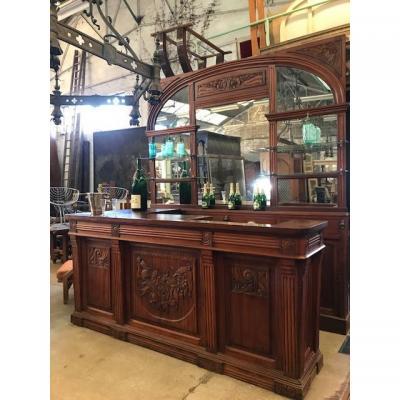 Ensemble bar Art Déco et son verrier miroir