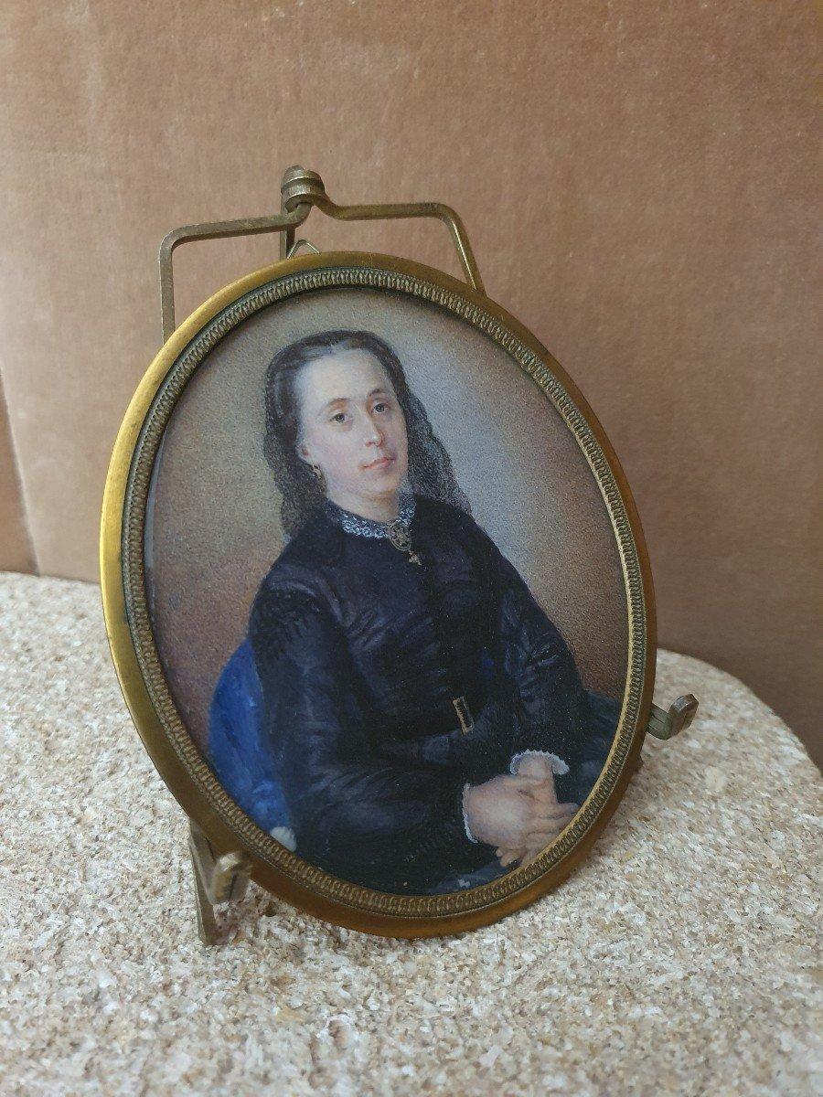 Portrait De Femme , Miniature Sur Papier  , XIX°.