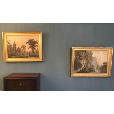 Paire De Gravures, Paysages,cadre Bois Et Stuc Doré,empire.