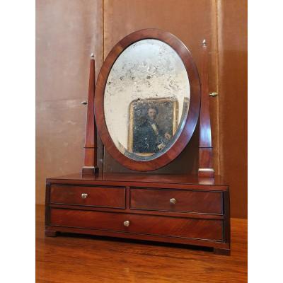 Miroir/Psyché De Table , Acajou Et Bronze , Début XIX°.