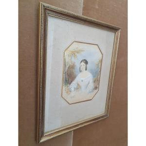 Portrait De Jeune Fille , Aquarelle, 1842.