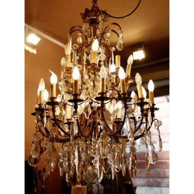 Large Chandelier With Tassels 24 Lights XIXth