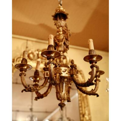 Chandelier In Chiseled Bronze XIXth
