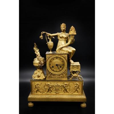 Empire Clock In Gilt Bronze