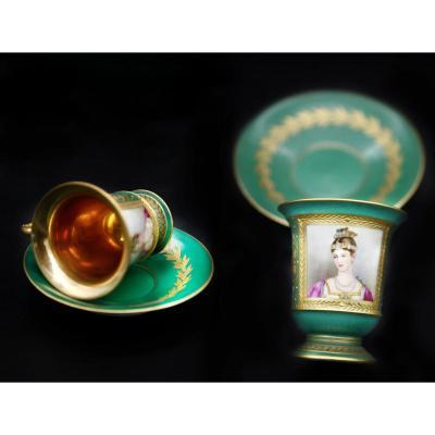Tasse Et Sous-tasse Style Empire En Porcelaine