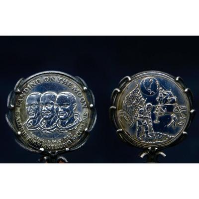 Commemorative Medal Of The First Steps On The Moon In Sterling Silver
