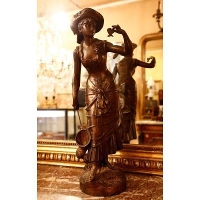 Statue En Regule - La Chasseuse De Papillon