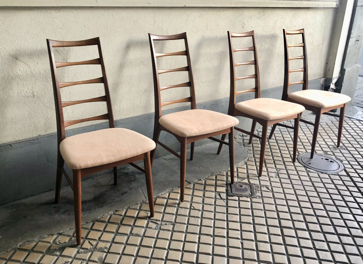 Four Scandinavian Teak Design Chair By Niels Koefoed