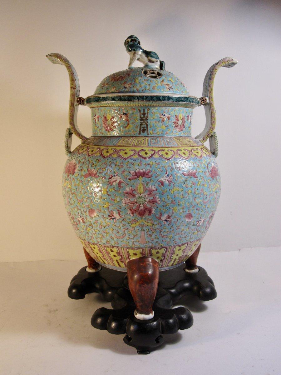 Chinese Porcelain Censer Turquoise Ground Enamel .