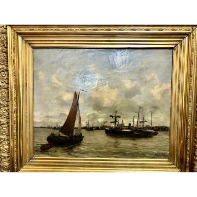 Peinture huile sur toile marine par Robert Mols (1848-1903) représentant l'estuaire d'Anvers