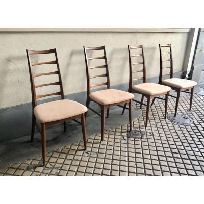 Quatre chaises Danoises vintage design scandinave  en teck  par Niels Koefoed (Made in Danemark)