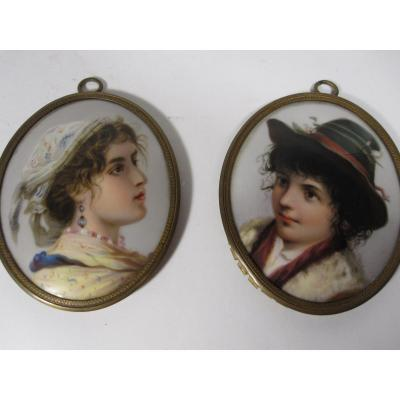 Pair Of Painted Porcelain Medallions.
