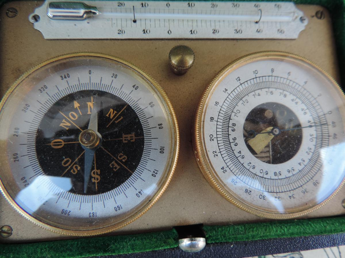 Barometer / Altimeter, Thermometer And Pocket Compass.-photo-2