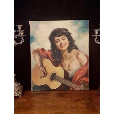 Tableau André David, portrait gitane à la guitare
