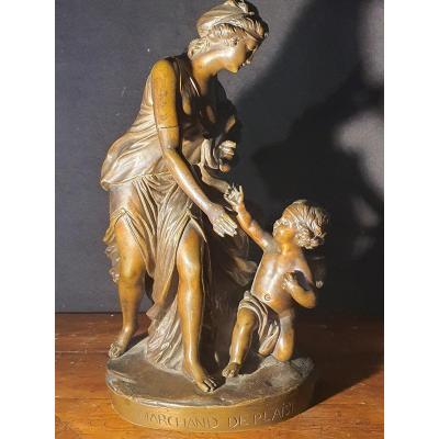 Sculpture bronze XVIII, néo classique, groupe de personnages