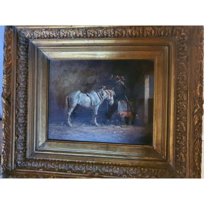 Tableau cheval à  l'écurie, scène équestre, Lm Webb