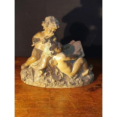 Groupe sculpture terre cuite aux enfants Fernand Cian