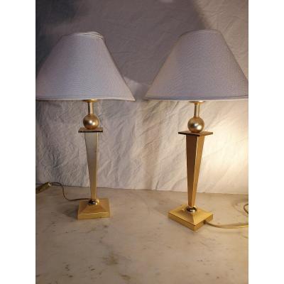 Pair Of Bronze Lamps 1950