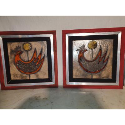 Pair Of Ceramic Picard Paintings