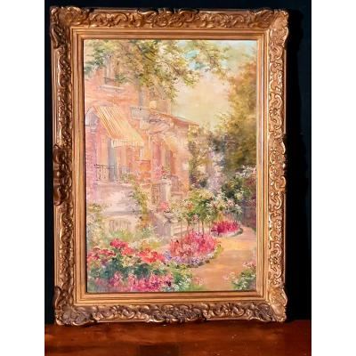 Tableau de Edmond Allouard, fleurs et jardin.