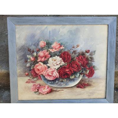 Flowers Painting, Watercolor Madeleine Renaud.