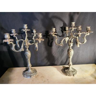 Pair Of Silver Bronze Candelabra