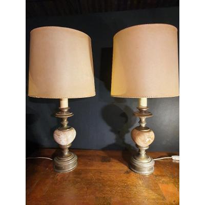 Paire De Lampes Marbre,vintage.