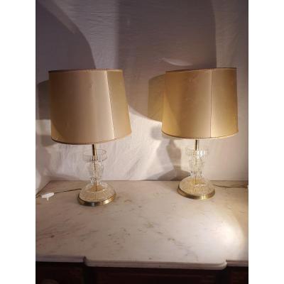 Paire De Lampes Cristal Et Bronze