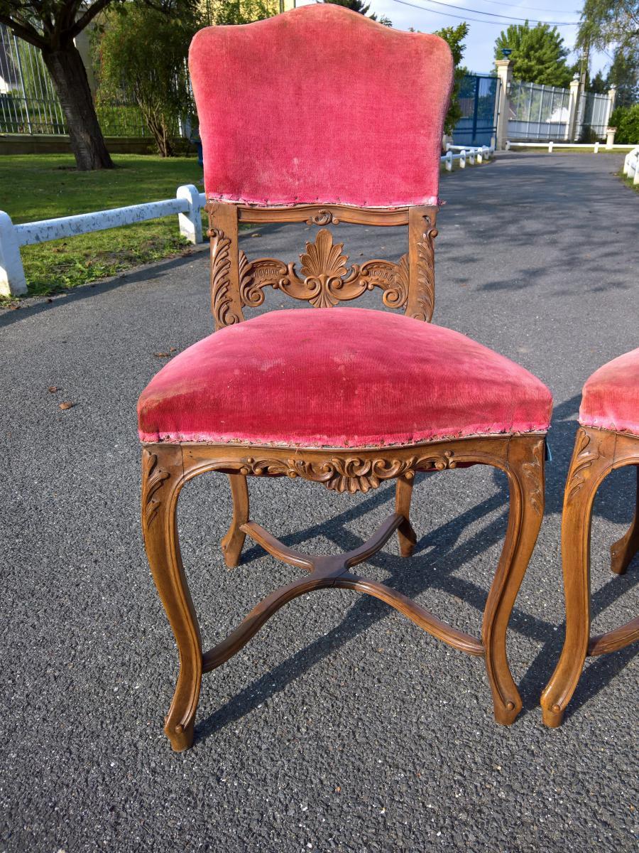 6 chaises de style louis xv en noyer chairs stools for Chaise en noyer