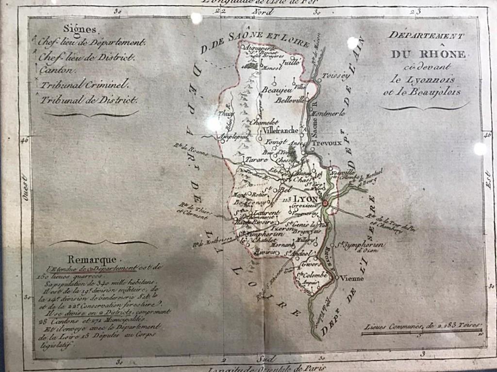 Rare Carte Du Département Du Rhône d'Epoque Révolutionnaire.