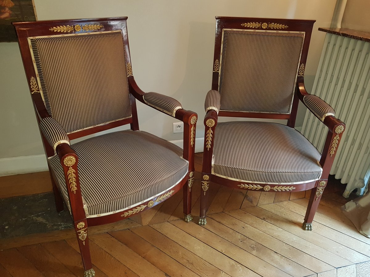 Paire De Fauteuils D'apparat De Style Empire - Fin Du XIX °siècle.