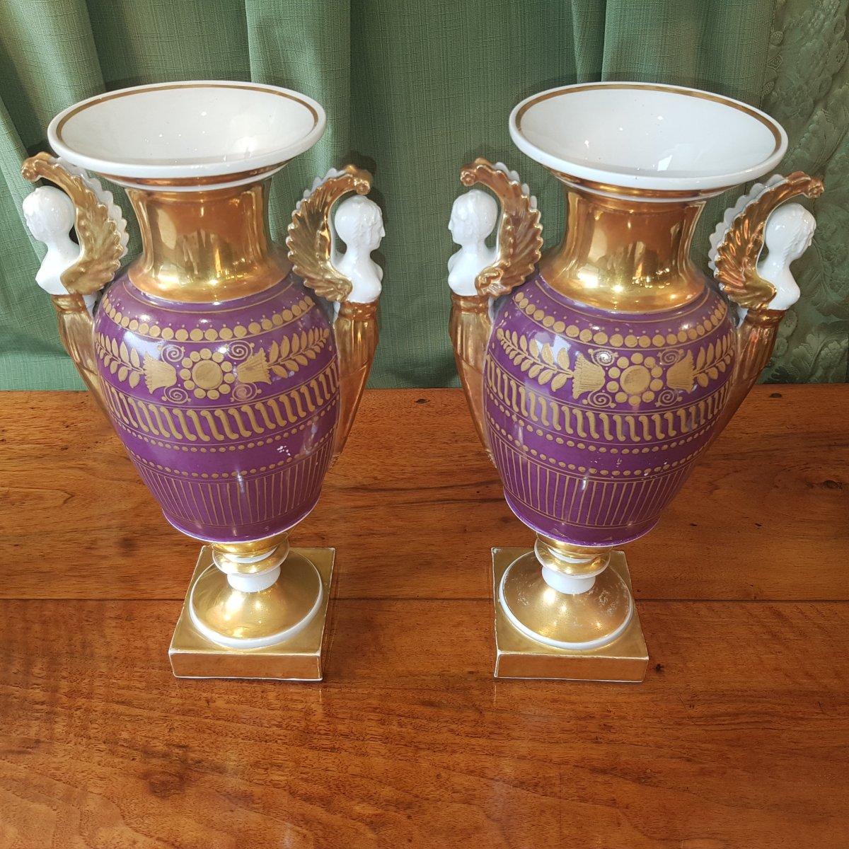 Paire De Vases En Porcelaine De Paris Debut XIX°siècle. -photo-2