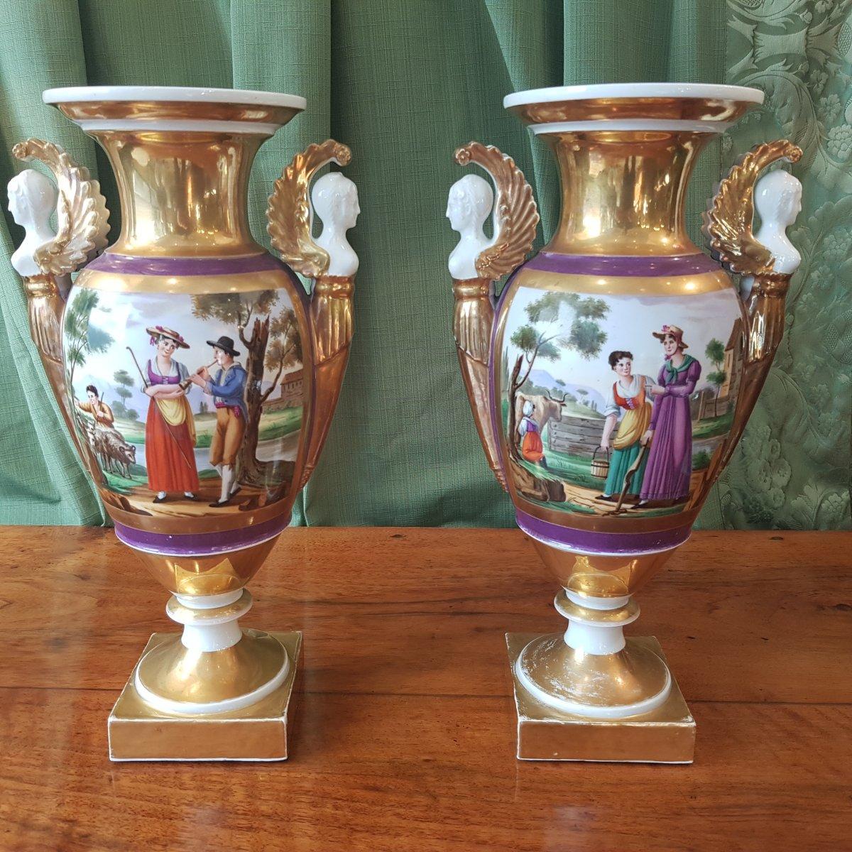 Paire De Vases En Porcelaine De Paris Debut XIX°siècle. -photo-3