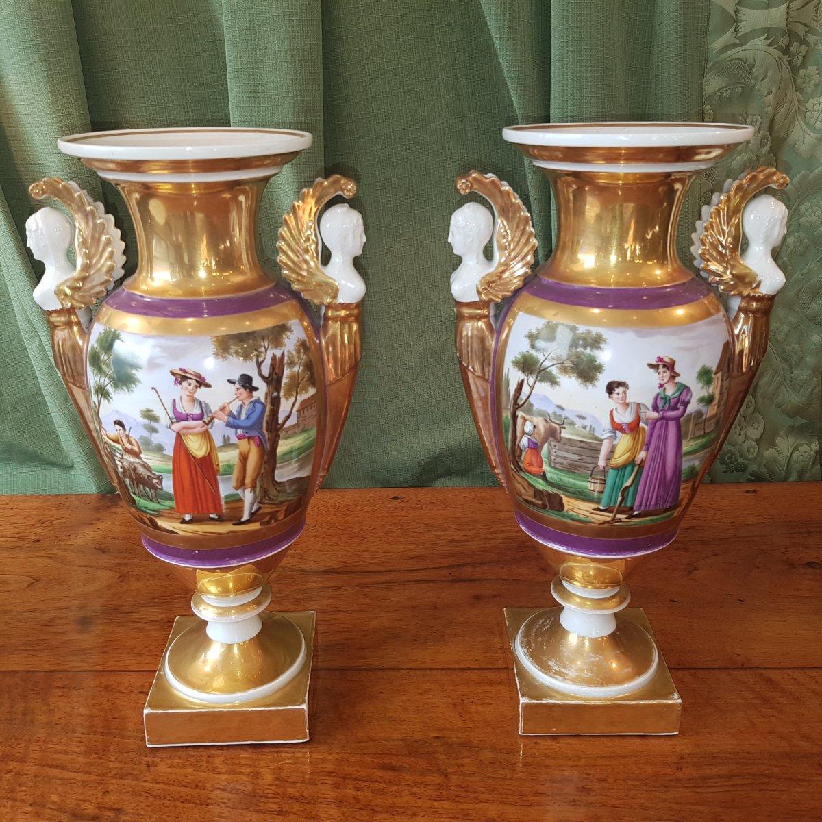 Paire De Vases En Porcelaine De Paris Debut XIX°siècle. -photo-4