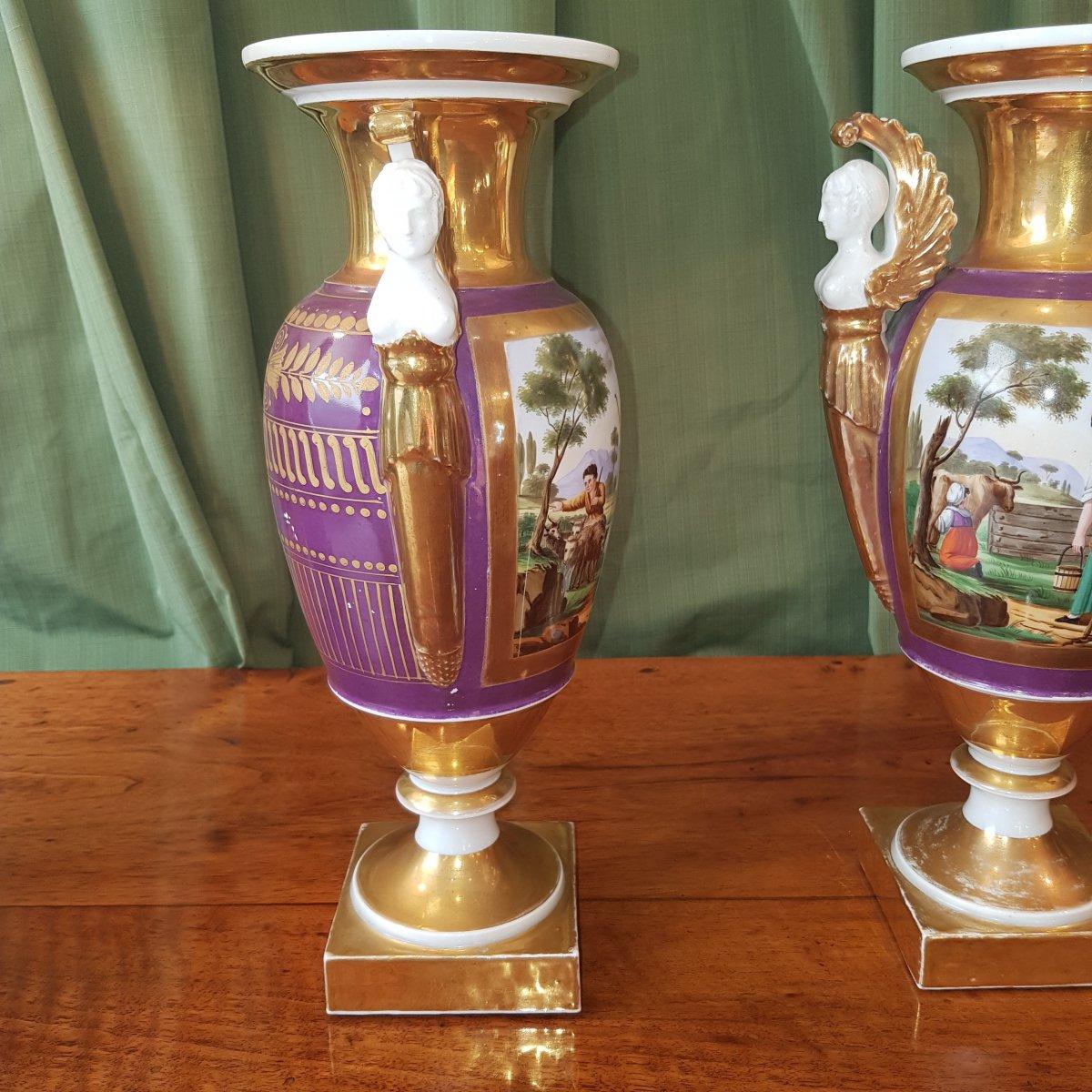 Paire De Vases En Porcelaine De Paris Debut XIX°siècle. -photo-1