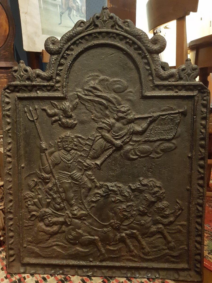 Old Fireplace Plate With Rounded Fronton. 60 Cm X 80 Cm.