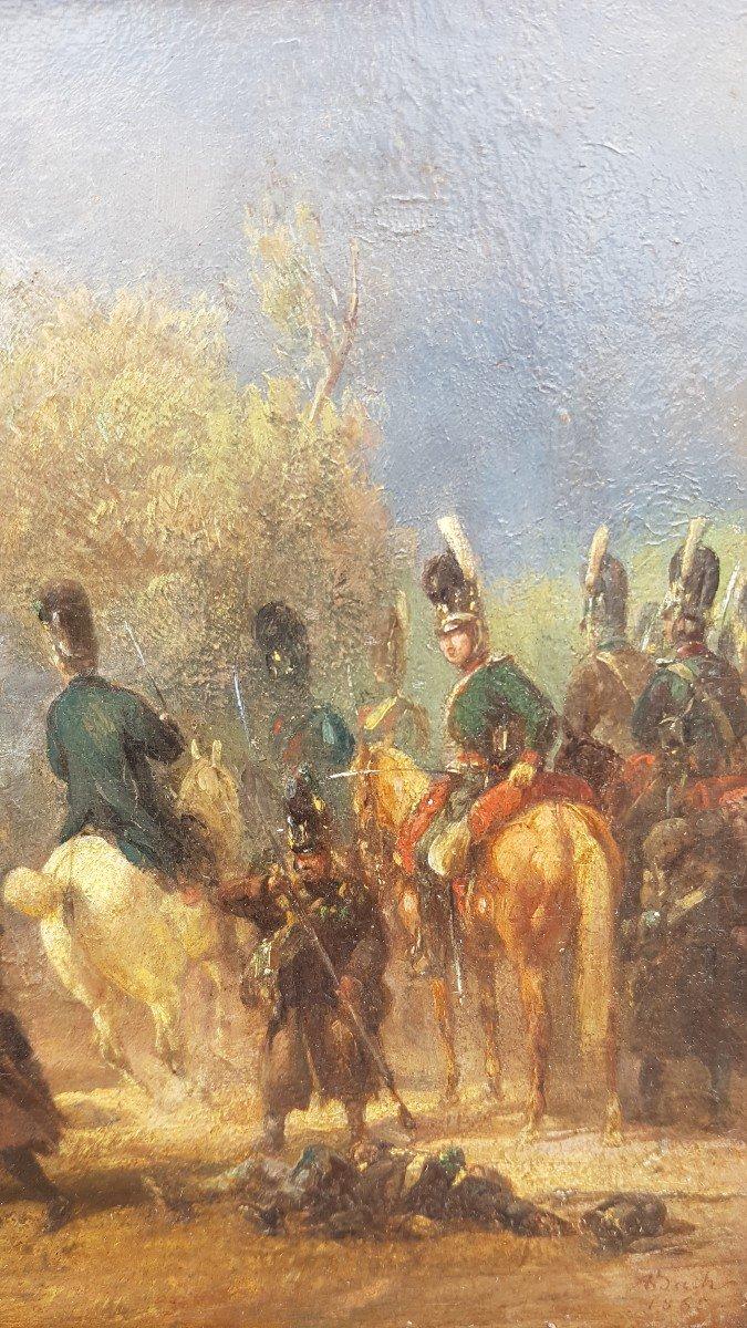 Alois Bach : Troupes Bavaroises Combattant Auprès d' Un Pont.-photo-1