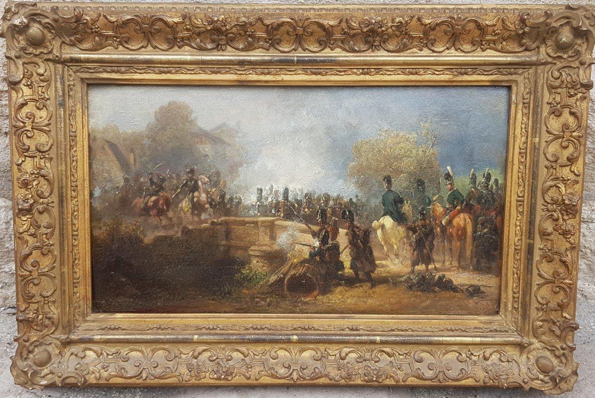 Alois Bach : Troupes Bavaroises Combattant Auprès d' Un Pont.