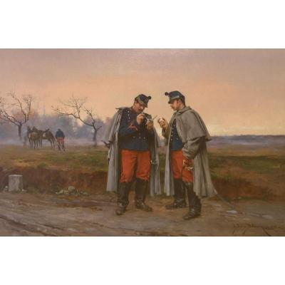 Scène militaire par Etienne-Prosper BERNE BELLECOUR  (1838- 1910) .