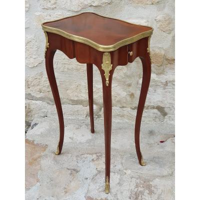 Small Mahogany Side Table Louis XV Style.