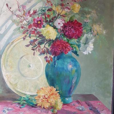 Bouquet De Fleurs Dans Un Vase à Coté D'un Plateau à Thé Marocain. Signé Gaston Durel